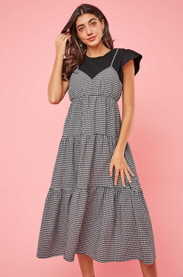 Tee & Plaid Tiered Maxi Dress Two Piece Set