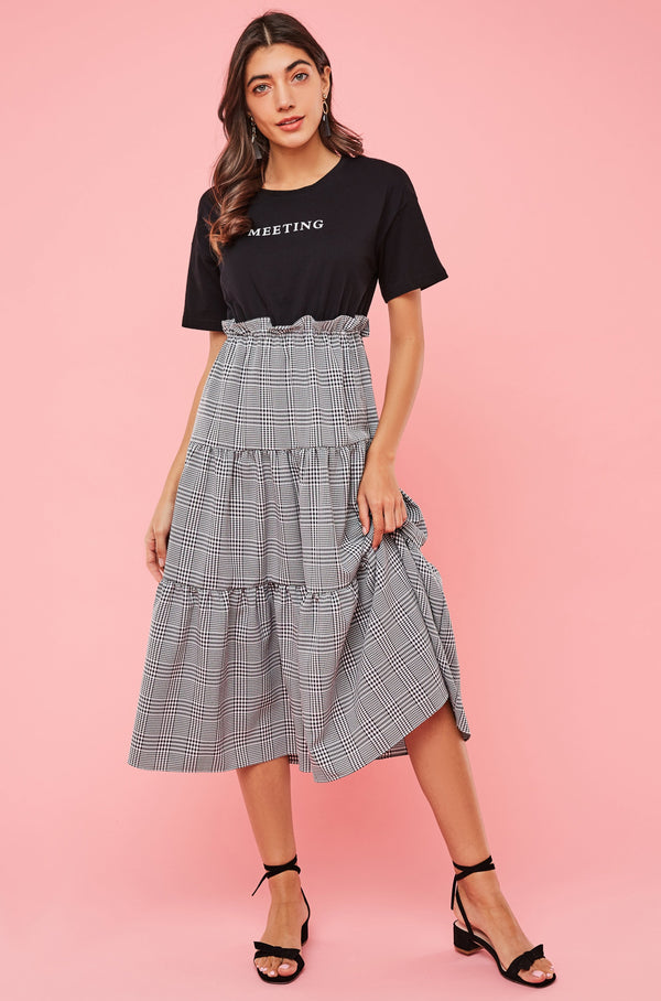 WFH Meeting Tee Tiered Flare Dress