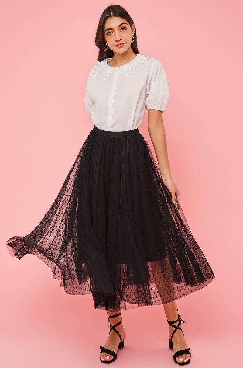 Dual Layer Dotted Mesh Skirt