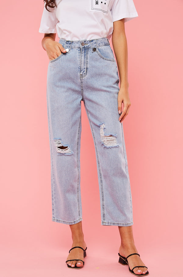 Beltloop Detail High-Waisted Ripped Jeans