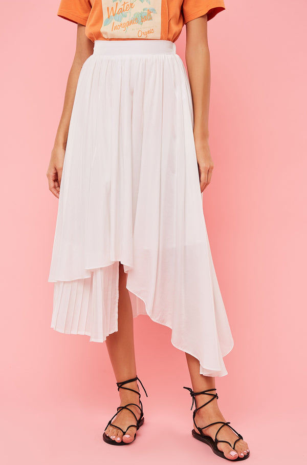 Asymmetrical Pleated-Detail Midi Flare Skirt