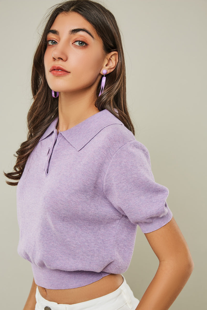 Polo Short-Sleeve Knit Top
