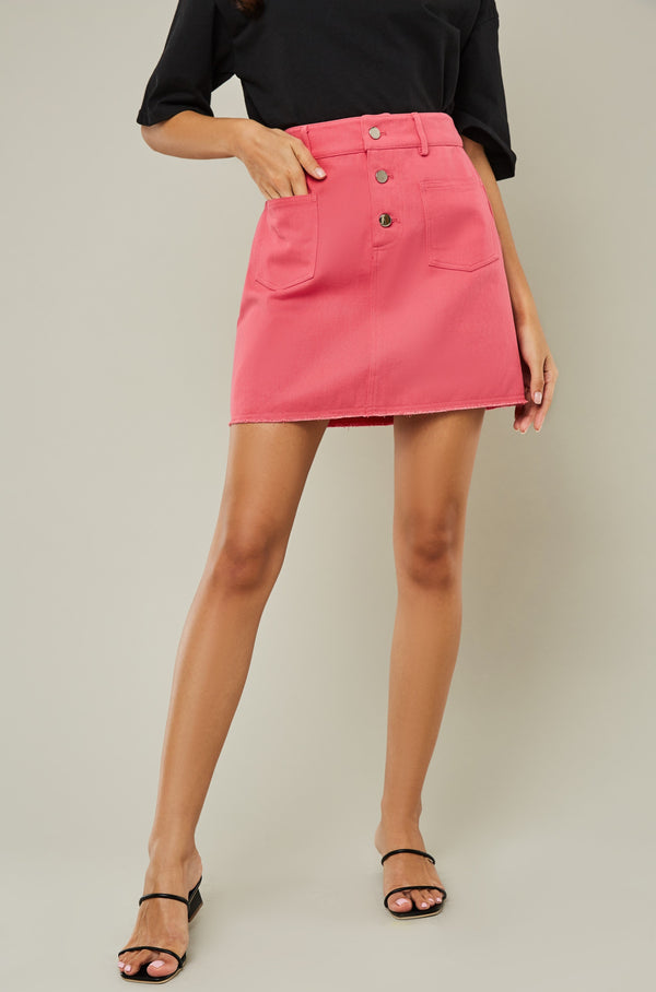 High Waisted Button Front Mini Skirt