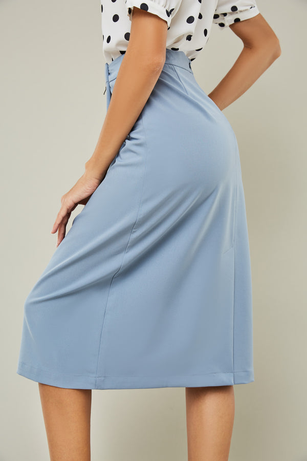 Rear Slit A-Line Midi Skirt