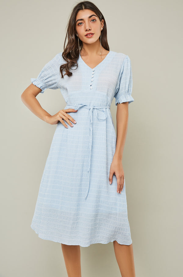 Puff-Sleeve V-Neck Midi Crepe Dress