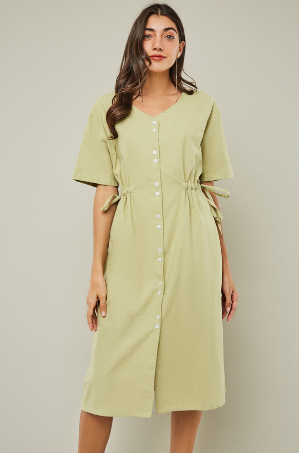V-Neck Button-Down Drawstring Waist Dress