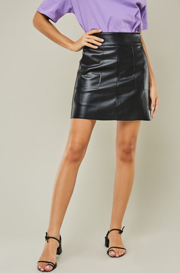 Slash Pocket Vegan Leather Skirt