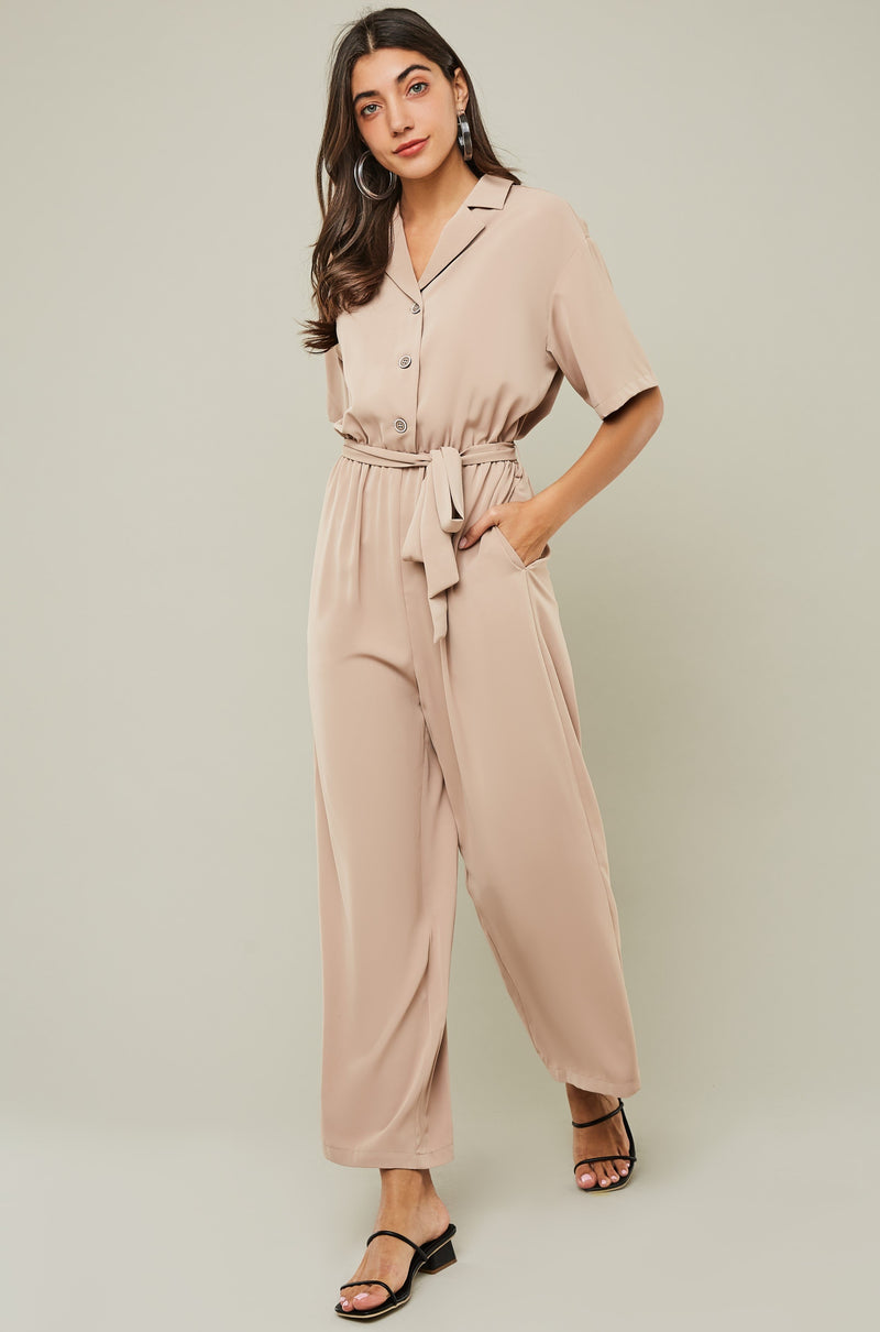 Short-Sleeve Notch-Collar Belted Jumpsuit