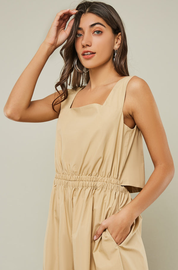 Cut-Out Back Wide-Leg Strap Jumpsuit
