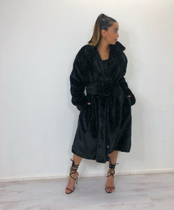 Black oversized faux fur longline coat with large buckle