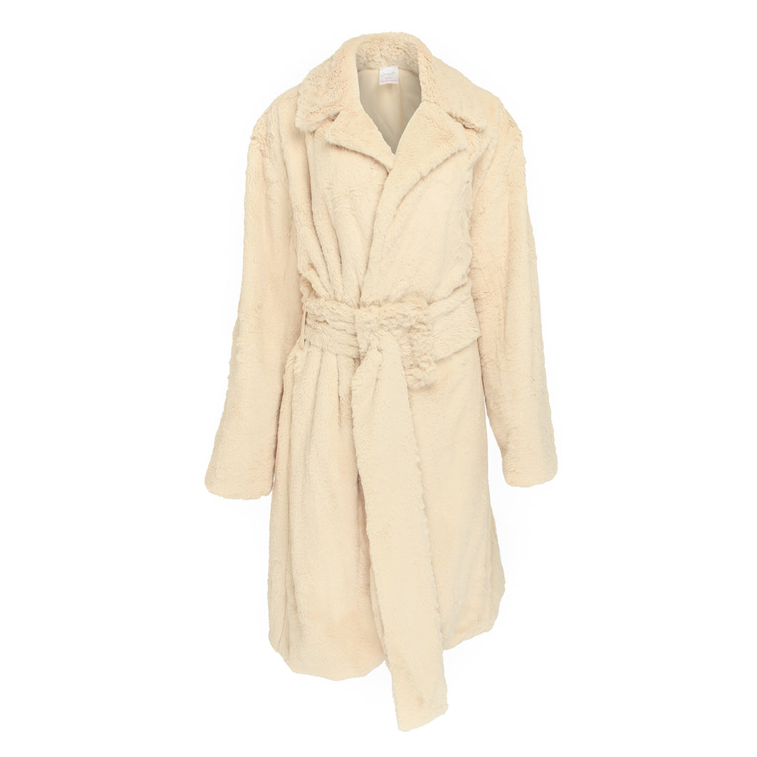 Faux fur longline oversized coat with large buckle in Creme Caramel