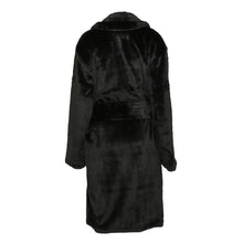 Load image into Gallery viewer, Black oversized faux fur longline coat with large buckle