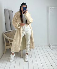 Load image into Gallery viewer, Faux fur longline oversized coat with large buckle in Creme Caramel