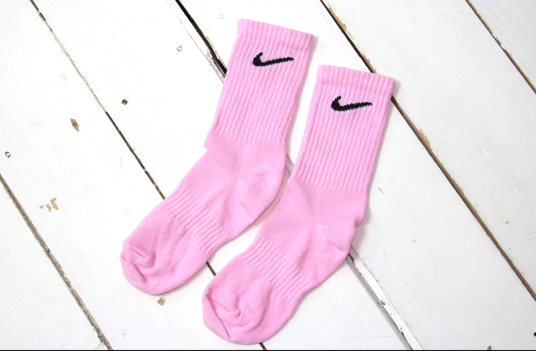 Custom hand-dyed pink nike socks