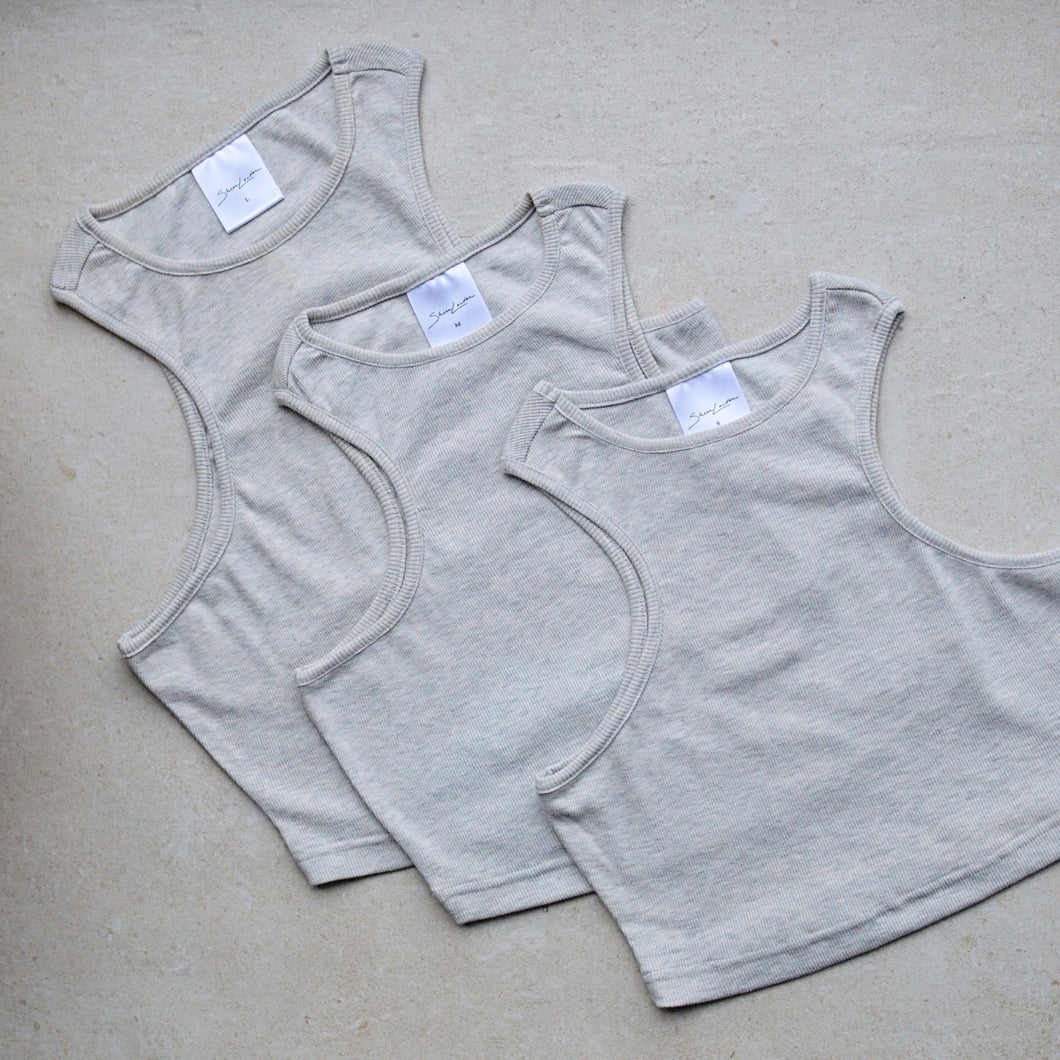 Racer front ribbed crop top light grey