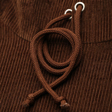 Load image into Gallery viewer, Brown Corduroy Cropped Hoodie (Caramel/Chocolate)