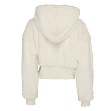 Load image into Gallery viewer, Hooded cream faux fur cropped jacket