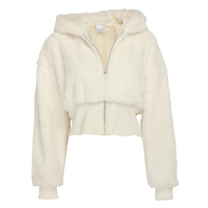 Hooded cream faux fur cropped jacket