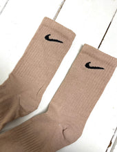 Load image into Gallery viewer, Custom hand-dyed oatmeal nike socks