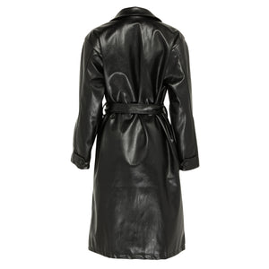 Longline faux leather belted coat