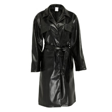 Load image into Gallery viewer, Longline faux leather belted coat
