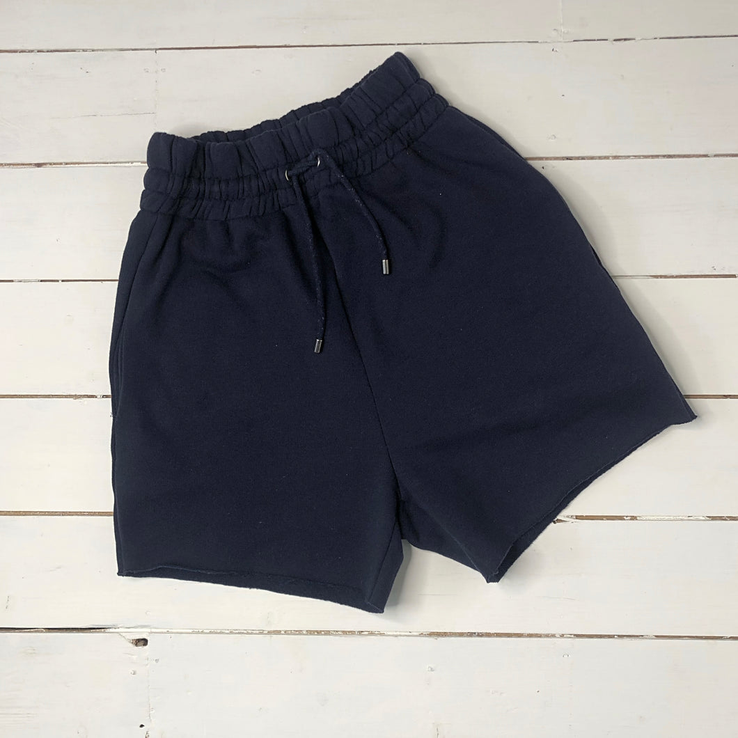 Navy High Waist Jogger Shorts
