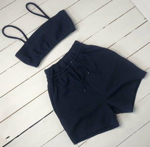 Spaghetti strap crop top with elasticated waist navy