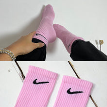 Load image into Gallery viewer, Custom hand-dyed pink nike socks