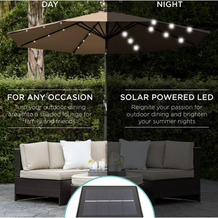 Patio Umbrella, Solar Powered, Outdoor LED Lighted Patio Umbrella with Tilt Adjustment