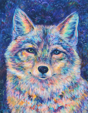 Load image into Gallery viewer, Rainbow Coyote 16x20""