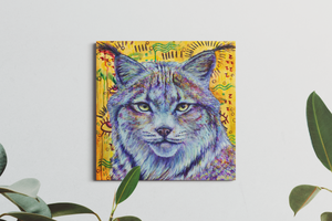 "Load image into Gallery viewer, Wild Heart – Lynx (20x20"") SOLD"