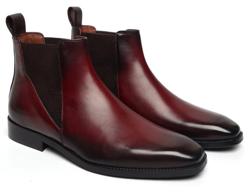 NEW SHAPE WINE LEATHER CHELSEA BOOT BY BRUNE WITH A STYLISH SHARP ELASTIC DESIGN