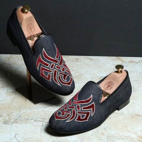 RED EMBROIDERED DENIM MEN SLIP-ONS BY BARESKIN