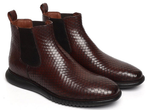 SNAKE SKIN TEXTURED CHELSEA BOOT WITH HAND SCALING AND LIGHT WEIGHT SOLE