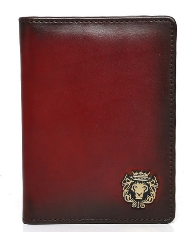 WINE TWO FOLD PASSPORT HOLDER IN LEATHER WITH CARD AND WALLET SLOTS BY BRUNE