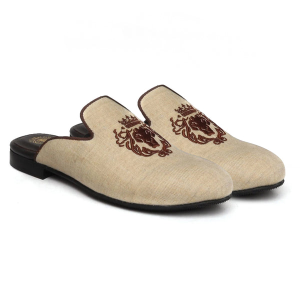 Beige Jute With Brown Lion Embroidered Mules by Bareskin