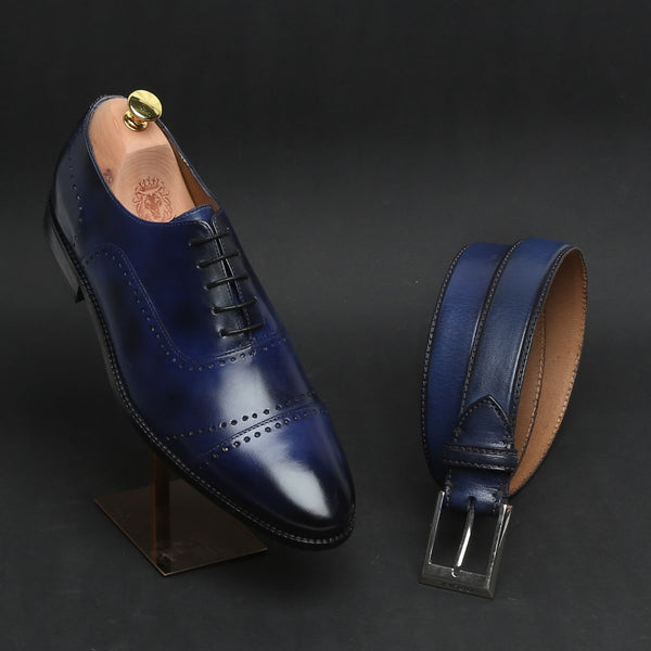 COMBO OF BLUE PUNCHING DESIGN LEATHER FORMAL OXFORDS BY BRUNE AND MATCHING BLUE BELT
