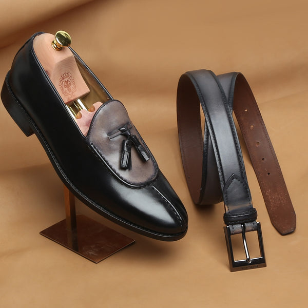 COMBO OF GREY-BLACK DUAL LOOK SPLIT TOE LEATHER SLIP-ON BY BRUNE AND MATCHING GREY BELT