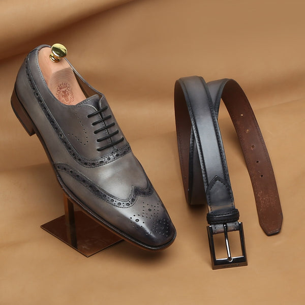COMBO OF SMOKY GREY LONG TAIL BROGUE LEATHER SHOES BY BRUNE AND MATCHING GREY BELT