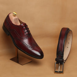 COMBO OF WINE FULL WINGTIP BROGUE LEATHER OXFORDS SHOE BY BRUNE WITH MATCHING BELT