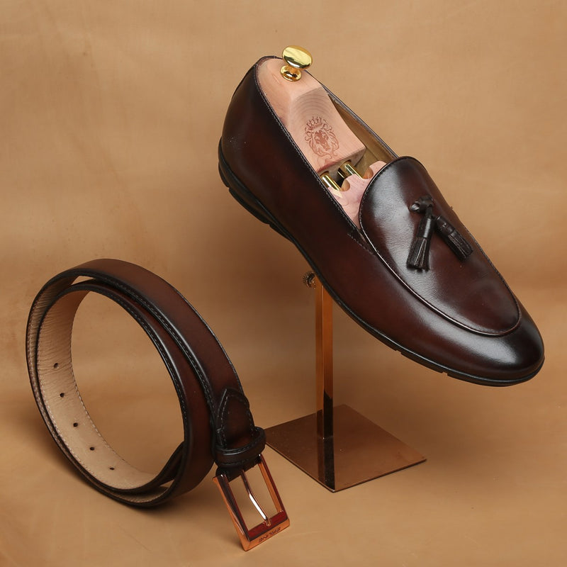 COMBO OF BROWN TASSEL LEATHER SLIP-ON WITH SUPER COMFY SOLE BY BARESKIN WITH MATCHING BELT