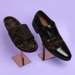 Classic Camo Combo of Double Monk Shoes and Lion Embroidered Slippers
