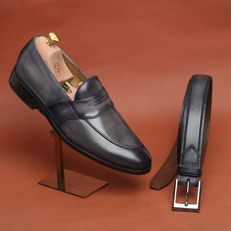COMBO OF SMOKY GREY LEATHER PENNY LOAFERS BY BRUNE WITH MATCHING BELT