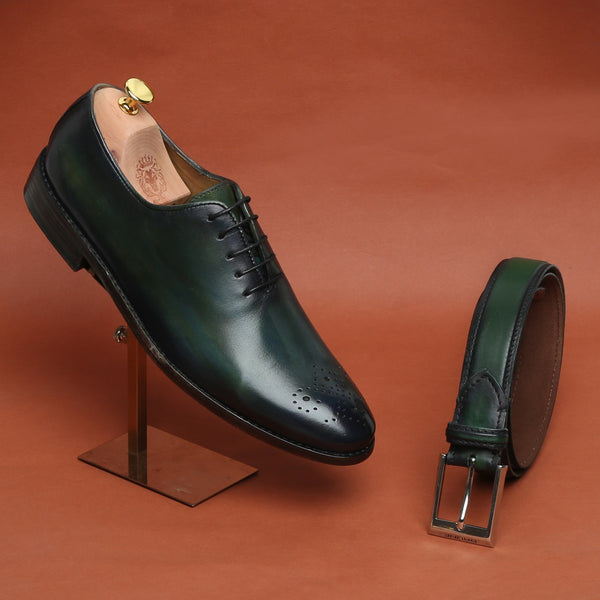 COMBO OF GREEN LEATHER WHOLE CUT/ONE PIECE MEDALLION TOE OXFORD SHOES BY BRUNE WITH MATCHING BELT