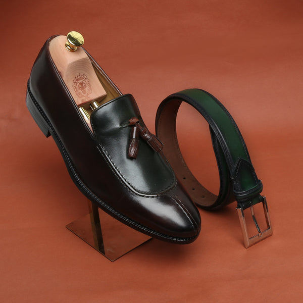 COMBO OF GREEN-BROWN DUAL LOOK SPLIT TOE LEATHER SLIP-ON BY BRUNE WITH MATCHING BELT