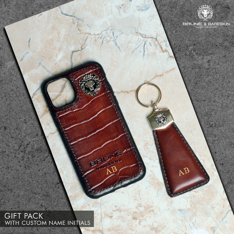 Tan Croco Print Leather Mobile Cover and Keychain Combo by Brune & Bareskin