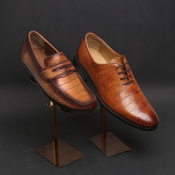 Croco Combo of Leather Loafers and Lace-up Formals by BRUNE