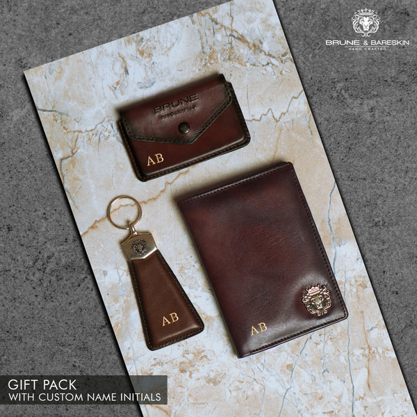 Brown Leather Passport Holder, Card Holder and Keychain Combo by Brune & Bareskin