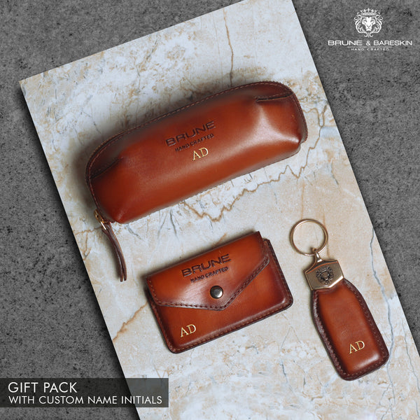 Tan Genuine Leather Combo of Eyewear Cover, Card Holder and Keychain by Brune & Bareskin