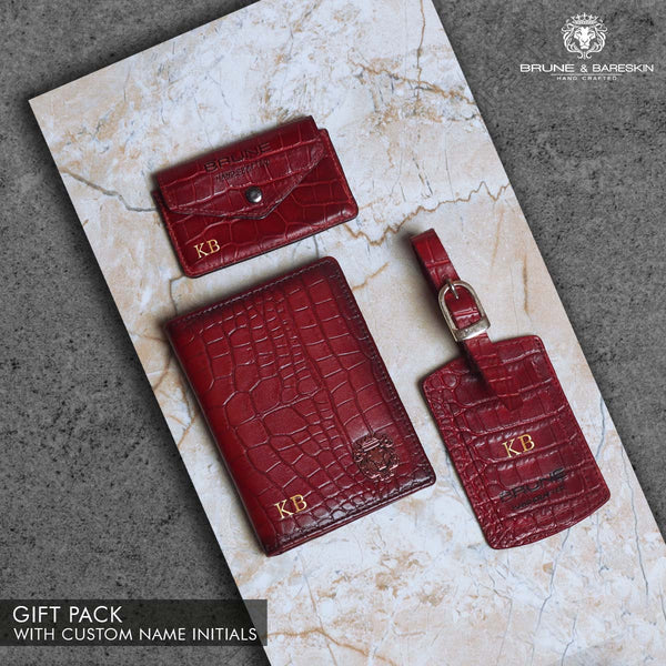Wine Combo Croco Print Leather Passport Holder, Luggage Tag and Flap Card Holder with Button by Brune & Bareskin